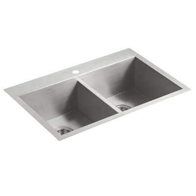 Vault 33 x 22 x 9-5/16 Top-Mount/Under-Mount Double-Equal Bowl Kitchen Sink with Single Faucet Hole