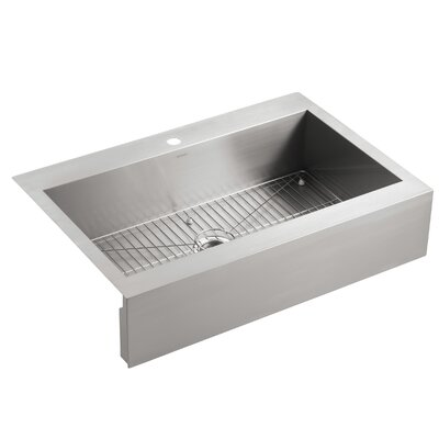 Vault Top-Mount Single-Bowl Stainless Steel Kitchen Sink with Shortened Apron-Front for 36Cabinet