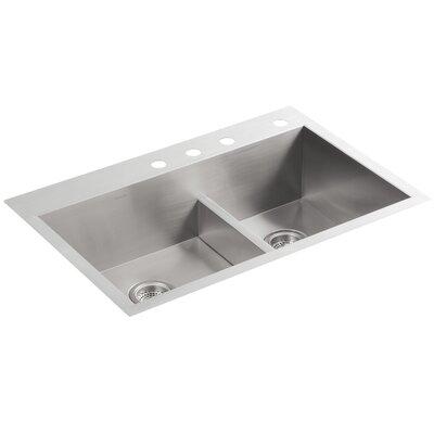Vault 33 x 22 x 9-5/16 Smart Divide Top-Mount/Under-Mount Large/Medium Double-Bowl Kitchen Sink with 4 Faucet Holes