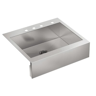Vault 29-3 4 x 24-5 16 x 9-5 16 Top-Mount Single-Bowl Stainless Steel Kitchen Sink with Shortened Apron-Front for 30Cabinet