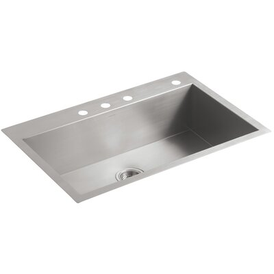 Vault 33 x 22 x 9-5/16 Top-Mount/Under-Mount Large Single-Bowl Kitchen Sink with 4 Faucet Holes
