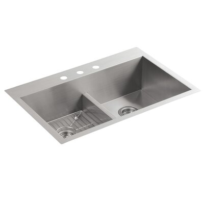 Vault 33 x 22 x 9-5/16 Smart Divide Top-Mount/Under-Mount Double-Equal Bowl Kitchen Sink with 3 Faucet Holes