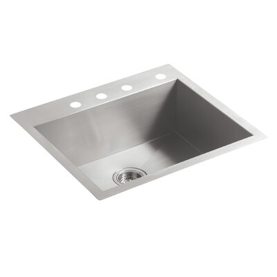 Vault 25 x 22 x 9-5/16 Top-Mount/Under-Mount Single-Bowl Kitchen Sink with 4 Faucet Holes