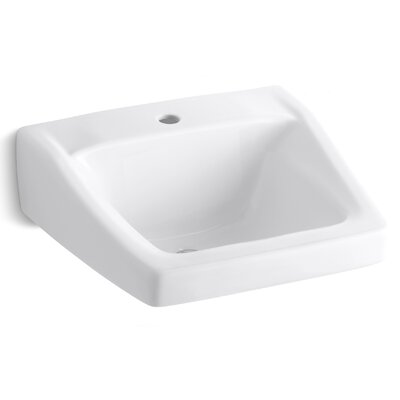 Chesapeake Ceramic 20 Wall Mount Bathroom Sink with Overflow Finish: White