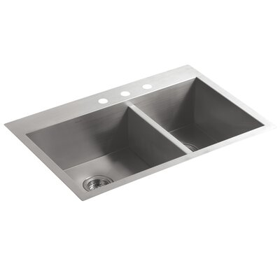 Vault 33 x 22 x 9-5/16 Top-Mount/Under-Mount Large/Medium Double-Bowl Kitchen Sink with 3 Faucet Holes