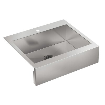 Vault 29-3/4 x 24-5/16 x 9-5/16 Top-Mount Single-Bowl Stainless Steel Kitchen Sink with Shortened Apron-Front for 30Cabinet