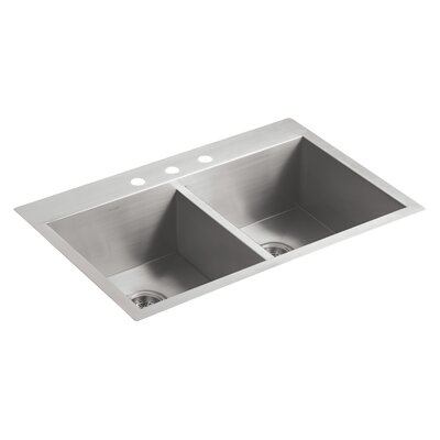 Vault 33 x 22 x 9-5/16 Top-Mount/Under-Mount Double-Equal Bowl Kitchen Sink with 3 Faucet Holes