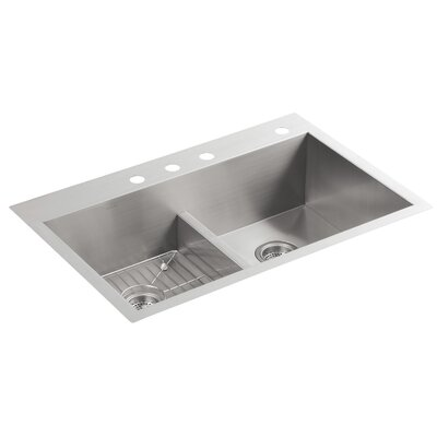 Vault 33 x 22 x 9-5/16 Smart Divide Top-Mount/Under-Mount Double-Equal Bowl Kitchen Sink with 4 Faucet Holes