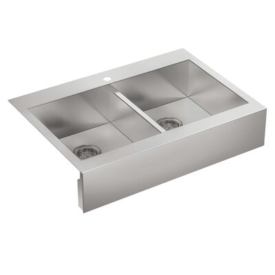 Vault 35-3/4 x 24-5/16 x 9-5/16 Top Mount Double Bowl Kitchen Sink