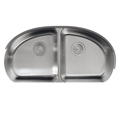 Undertone 34-9/16 x 18-1/2 x 9-1/2 Under-Mount Double-Equal Bowl Kitchen Sink