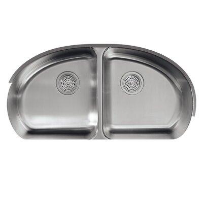 "Undertone 34-9/16"" x 18-1/2"" x 9-1/2"" Under-Mount Double-Equal Bowl Kitchen Sink K-3148-NA"