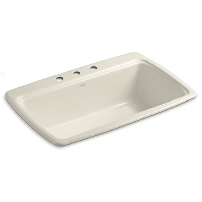 Cape Dory 33 x 22 x 9-5/8 Top-Mount Single-Bowl Kitchen Sink Finish: Almond, Faucet Drillings: 4 Hole