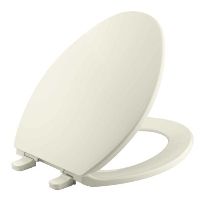 Brevia with Quick-Release Hinges Elongated Toilet Seat Finish: Almond