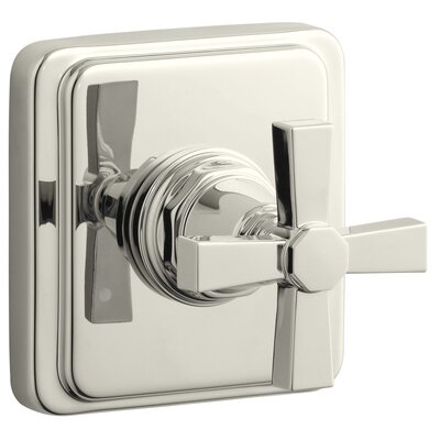 Pinstripe Valve Trim with Pure Design Cross Handle for Transfer Valve, Requires Valve Finish: Vibrant Polished Nickel
