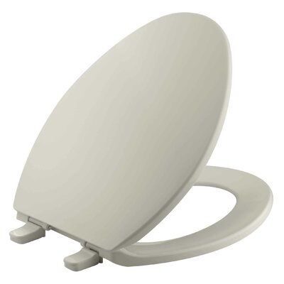 Brevia with Quick-Release Hinges Elongated Toilet Seat Finish: Sandbar