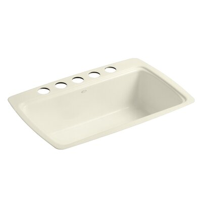 Cape Dory 33 x 22 x 9-5/8 Under-Mount Single-Bowl Kitchen Sink with 5 Oversize Faucet Holes Finish: Cane Sugar