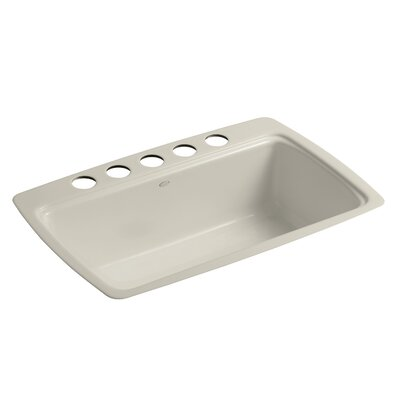 Cape Dory 33 x 22 x 9-5/8 Under-Mount Single-Bowl Kitchen Sink with 5 Oversize Faucet Holes Finish: Sandbar