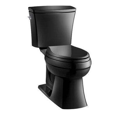 Kelston Comfort Height Two-Piece Elongated 1.6 GPF Toilet with Aquapiston Flush Technology and Left-Hand Trip Lever Finish: Black Black