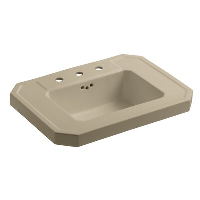 Kathryn� Ceramic 27 Pedestal Bathroom Sink with Overflow Finish: Mexican Sand, Faucet Hole Style: Single