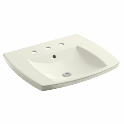 Kelston� Ceramic Rectangular Drop-In Bathroom Sink with Overflow Finish: Biscuit, Faucet Hole Style: Single
