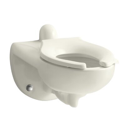 Kingston Wall-Mounted 1.6 or 1.28 GPF Flushometer Valve Toilet Bowl with Rear Inlet, Requires Seat Finish: Biscuit
