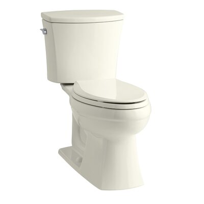 Kelston Comfort Height Two-Piece Elongated 1.28 GPF Toilet with Aquapiston Flush Technology and Left-Hand Trip Lever Finish: Biscuit