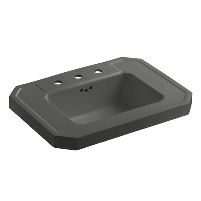 Kathryn 27 Pedestal Bathroom Sink Finish: Thunder Grey, Faucet Hole Style: 8 Widespread