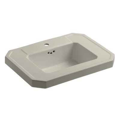 Kathryn� Ceramic 27 Pedestal Bathroom Sink with Overflow Finish: Sandbar, Faucet Hole Style: 8 Widespread