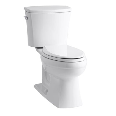 Kelston Comfort Height Two-Piece Elongated 1.28 GPF Toilet with Aquapiston Flush Technology and Left-Hand Trip Lever Finish: White