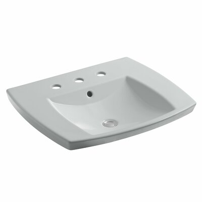Kelston� Ceramic Rectangular Drop-In Bathroom Sink with Overflow Finish: Ice Grey, Faucet Hole Style: 8 Widespread