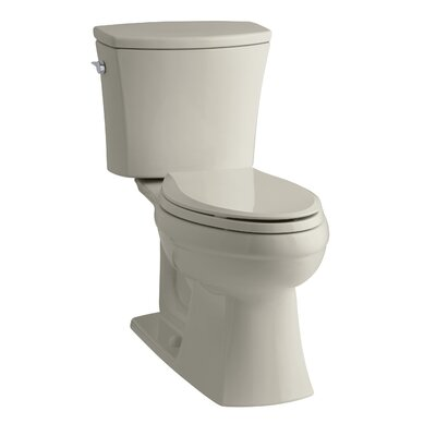Kelston Comfort Height Two-Piece Elongated 1.6 GPF Toilet with Aquapiston Flush Technology and Left-Hand Trip Lever Finish: Sandbar