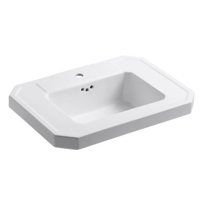 Kathryn� Ceramic 27 Pedestal Bathroom Sink with Overflow Finish: White, Faucet Hole Style: 8 Widespread