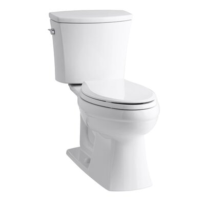 Kelston Comfort Height Two-Piece Elongated 1.6 GPF Toilet with Aquapiston Flush Technology and Left-Hand Trip Lever Finish: White