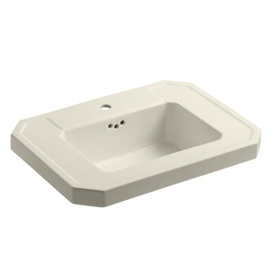 Kathryn� Ceramic 27 Pedestal Bathroom Sink with Overflow Finish: Almond, Faucet Hole Style: Single