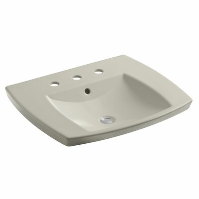 Kelston� Ceramic Rectangular Drop-In Bathroom Sink with Overflow Finish: Sandbar, Faucet Hole Style: 4 Centerset