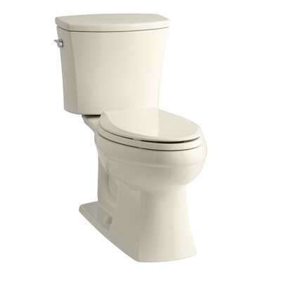 Kelston Comfort Height Two-Piece Elongated 1.28 GPF Toilet with Aquapiston Flush Technology and Left-Hand Trip Lever Finish: Almond