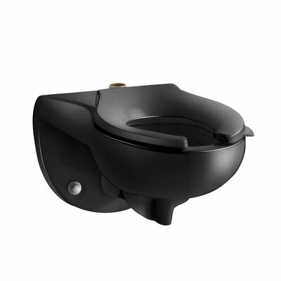 Kingston Wall-Mounted 1.6 or 1.28 GPF Flushometer Valve Toilet Bowl with Top Inlet, Requires Seat Finish: Black Black