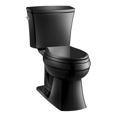 Kelston Comfort Height Two-Piece Elongated 1.28 GPF Toilet with Aquapiston Flush Technology and Left-Hand Trip Lever Finish: Black Black
