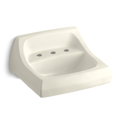 Kingston Ceramic 22 Wall Mount Bathroom Sink with Overflow Finish: Almond