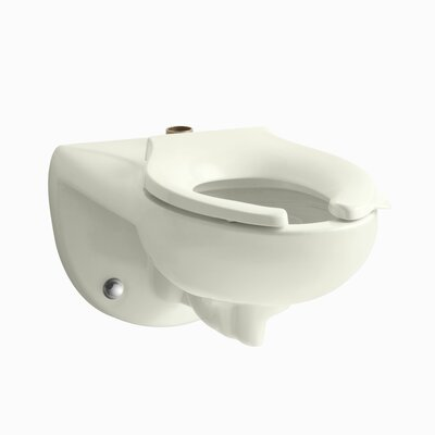 Kingston Wall-Mounted 1.6 or 1.28 GPF Flushometer Valve Toilet Bowl with Top Inlet, Requires Seat Finish: Biscuit