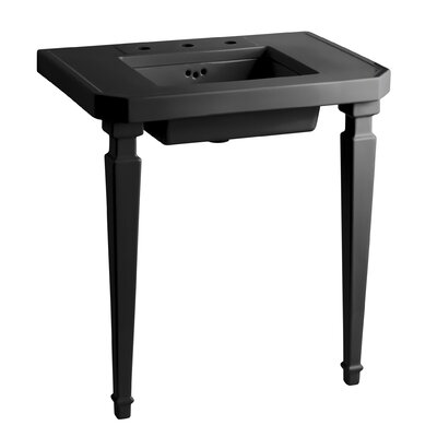 Kathryn Square Tapered Fireclay Table Legs Finish: Black Black