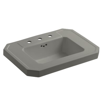 Kathryn� Ceramic 27 Pedestal Bathroom Sink with Overflow Finish: Cashmere, Faucet Hole Style: 8 Widespread