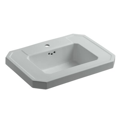 Kathryn� Ceramic 27 Pedestal Bathroom Sink with Overflow Finish: Ice Grey, Faucet Hole Style: Single