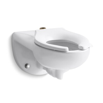 Kingston Wall-Mounted 1.6 or 1.28 GPF Flushometer Valve Toilet Bowl with Top Inlet, Requires Seat Finish: White