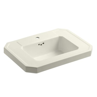 Kathryn� Ceramic 27 Pedestal Bathroom Sink with Overflow Finish: Biscuit, Faucet Hole Style: Single