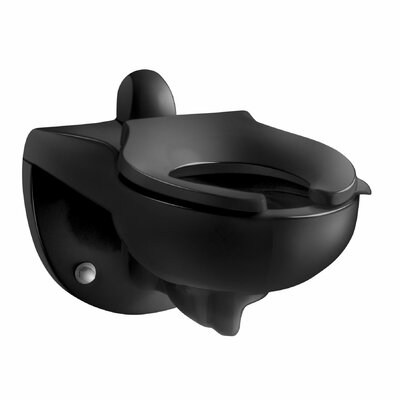 Kingston Wall-Mounted 1.6 or 1.28 GPF Flushometer Valve Toilet Bowl with Rear Inlet, Requires Seat Finish: Black Black