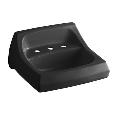 Kingston Ceramic 22 Wall Mount Bathroom Sink with Overflow Finish: Black Black