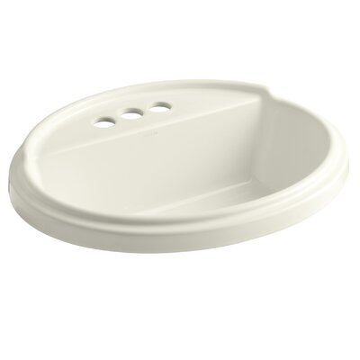 Tresham� Ceramic Oval Drop-In Bathroom Sink with Overflow Finish: Biscuit, Faucet Hole Style: 8 Widespread