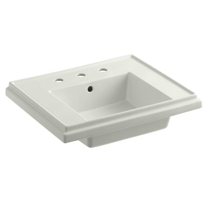 Tresham� Ceramic 24 Pedestal Bathroom Sink with Overflow Finish: Dune, Faucet Hole Style: 4 Centerset