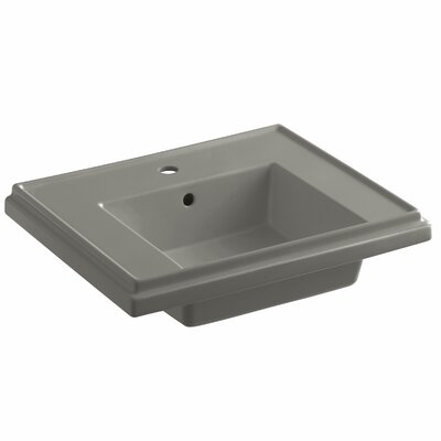 Tresham� Ceramic 24 Pedestal Bathroom Sink with Overflow Finish: Cashmere, Faucet Hole Style: 4 Centerset